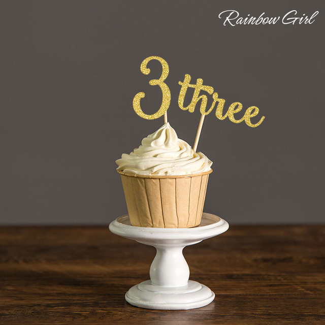 Number Three Gold Silver Glitter Cupcake Toppers