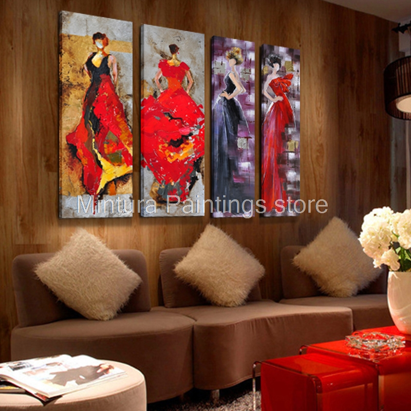 Mintura Art Fashion City Girl 100 Hand Painted Modern Abstract Oil Painting On Canvas Wall Art
