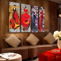 Mintura Art Fashion City Girl 100% Hand Painted Modern Abstract Oil Painting On Canvas Wall Art Pictures For Home Decor