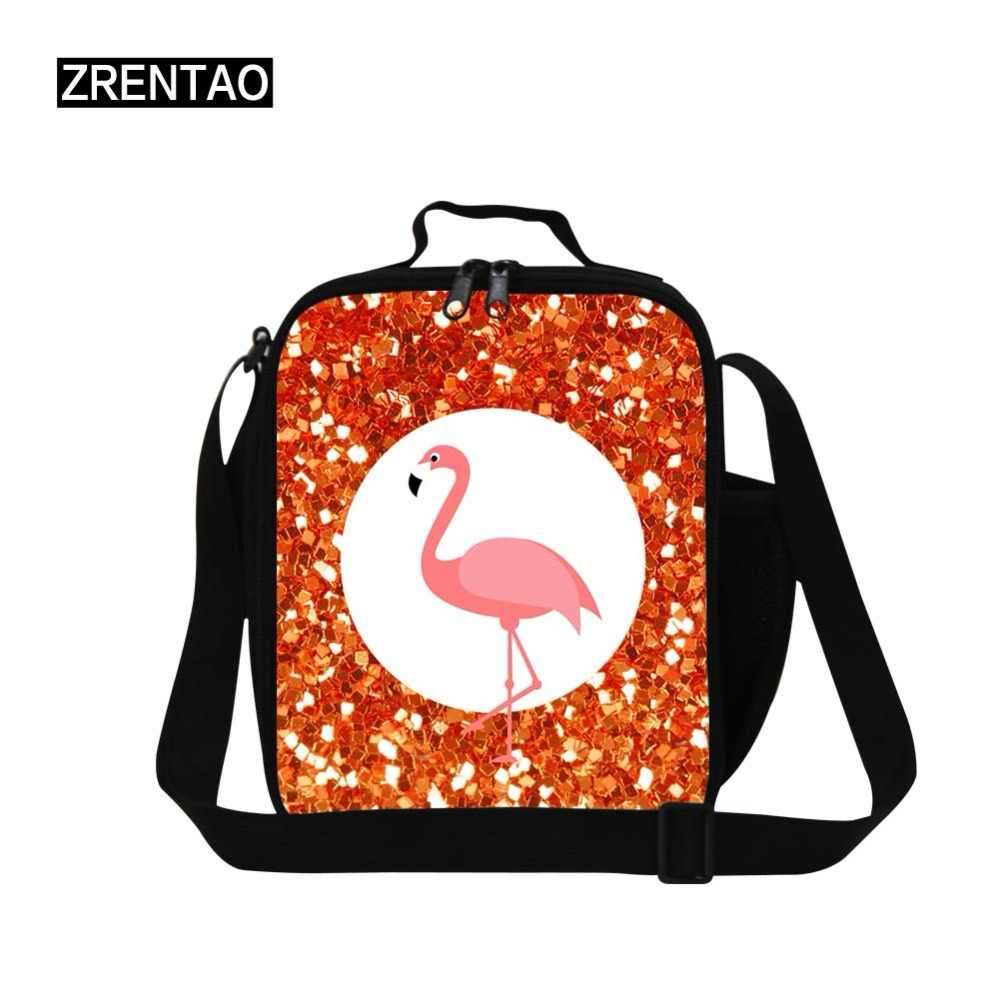 ZRENTAO flamingo&horse print lunch cooler bag cartoon flamingo print insulated thermal meal container polyester picnic food box