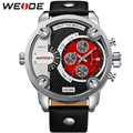 GaGa! WEIDE Quartz Watches Men Military Sports Luxury Brand Genuine Leather Strap Famous 3ATM Waterproof Oversized Wristwatch