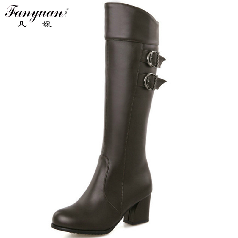 Plus Size 30-50 Sexy Solid Elegant Knee High Zip Boots High Quality Woman Winter Elegant Square Low Heel Round Toe Dress Shoes