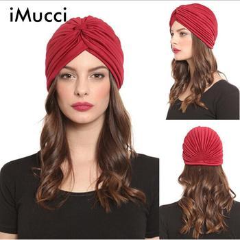 iMucci 13 Colors Solid Muslim Turban Cap Women Elastic Beanies Hat Bandanas Big Satin Bonnet Indian Women Turban Black Red headpiece