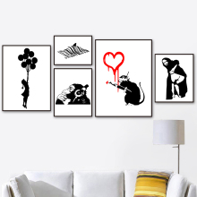 Banksy Graffiti Girl With Balloon Mona Lisa Butt Orangutan Wall Art Canvas Painting Nordic Posters And Prints Picture Decor