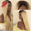 ombre wig black root blonde hair weaving silk straight heat resistant wig glueless hair synthetic lace front wig for women
