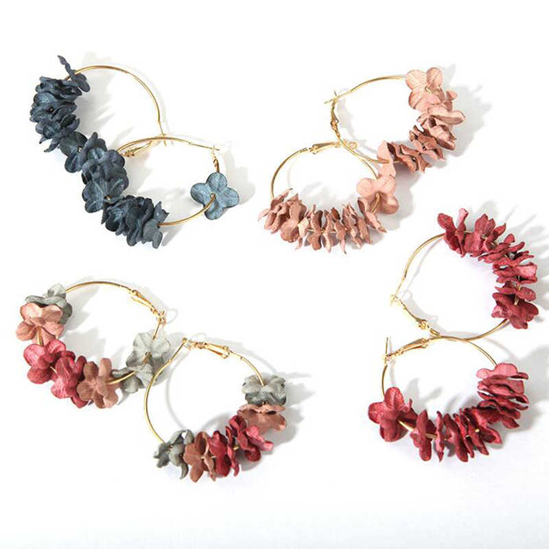 Fashion Trendy Charms Flower Piercing Dangle Earrings For Women 2019 Fabric Colorful Petal Big Circle Drop Earings Uilz Jewelry