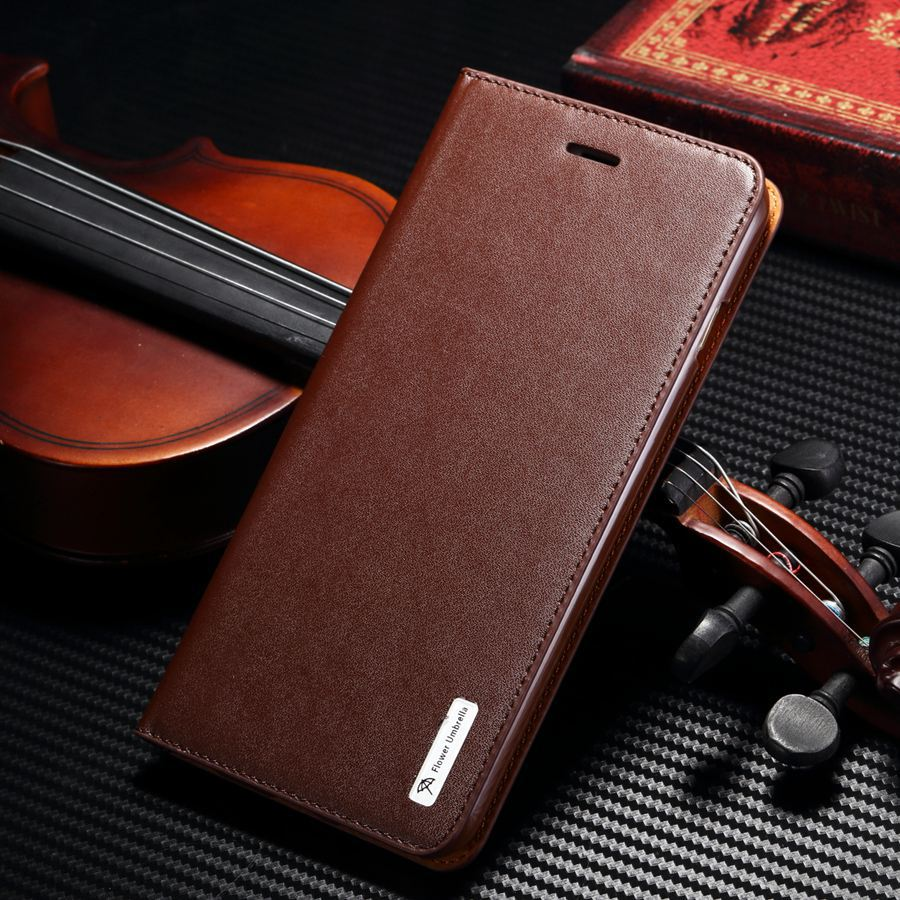 Luxury Genuine Leather Flip Cover With Rubber Case for iPhone 6 iPhone 6S 4 7 inch