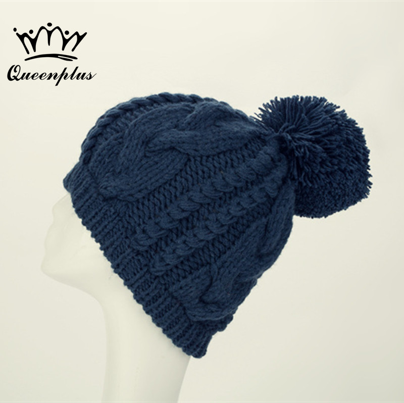 2017 Hand knitting New Fashion Winter Women Man Hat wool Double weave Hemp flowers  Knitted Beanies Warm Hat the new children s cubs hat qiu dong with cartoon animals knitting wool cap and pile