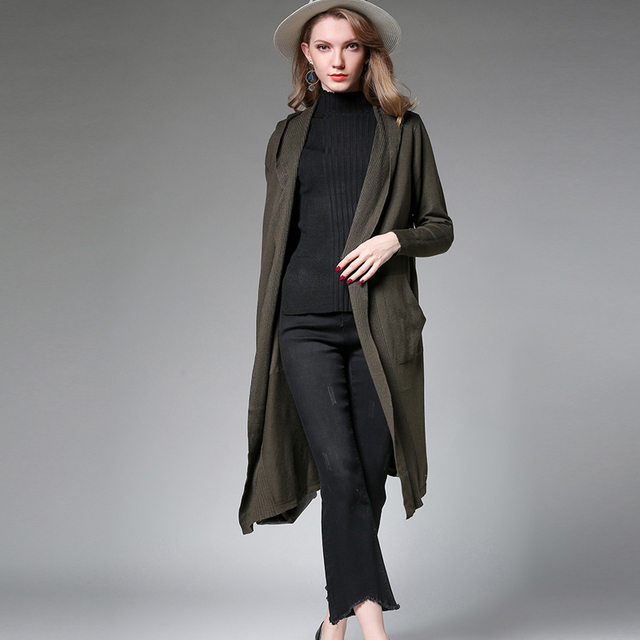 9cd3206d977 Women s long black hooded cardigan top womens knit sweater plus size long  coat shawl High quality Autumn new