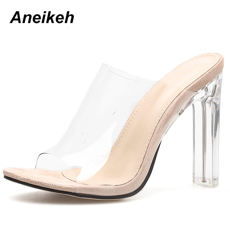 Aneikeh 2019 New PVC Jelly Sandals Crystal Open Toed Sexy Thin Heels Crystal Women Transparent Heel Aneikeh 2019 New PVC Jelly Sandals Crystal Open Toed Sexy Thin Heels Crystal Women Transparent Heel Sandals Slippers Pumps