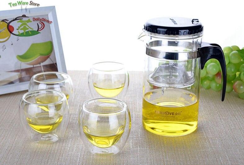 1x 5in1 Tea Set -Kamjove Heat Resistant <font><b>Glass</b></font> 500ml/17fl.oz Piaoyi Flower Teapot +4x 70ml/2.3 fl.oz Double Wall <font><b>Glass</b></font> Cups