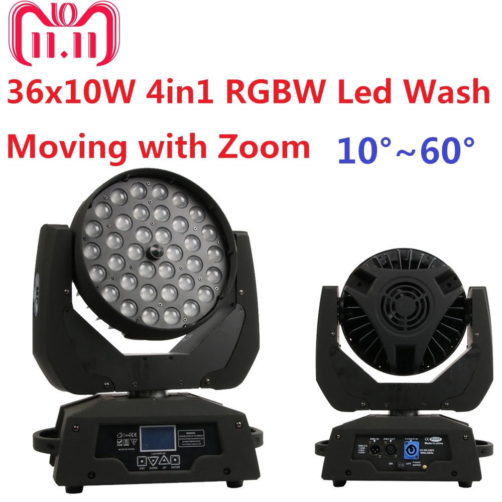 Free Shipping 36x10W RGBW 4in1 Led Wash Beam Moving Head Led Stage Lights with Zoom DJ DMX Disco Effect Equipments Party Wedding free shipping 6pcs lot 120w moving head light sharpy beam 2r led lights dj disco club party wedding stage effect