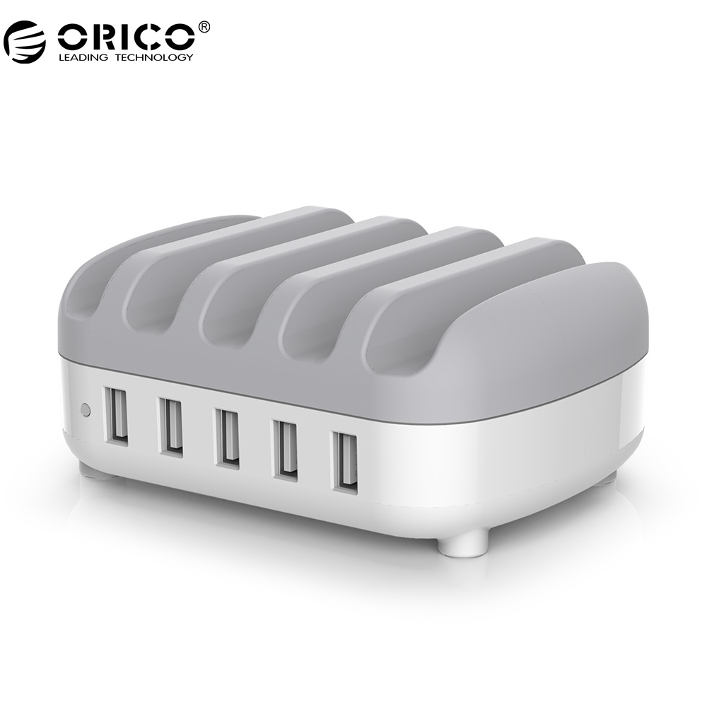 ORICO DUK-5P 5 Ports USB Charger Station Dock with Phone Holder 5V2.4A*5 40W Max For Phone and Tablet PC