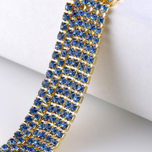 Single row rhinestones chain lt blue crystals gold claw base cup chain stones and crystals strass sew on rhinestones for germent certain characterizations of tungsten ditelluride single crystals