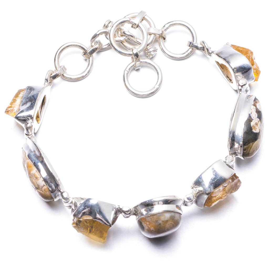 Natural Ocean Jasper and Citrine Handmade Unique 925 Sterling Silver Bracelet 5 3/4-7