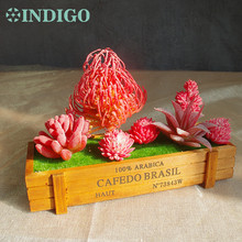 INDIGO- Red Artificial Succulent Plant (6pcs +1 Wood Tray)/Set Flower Bonsai Table Decoration Free Shipping