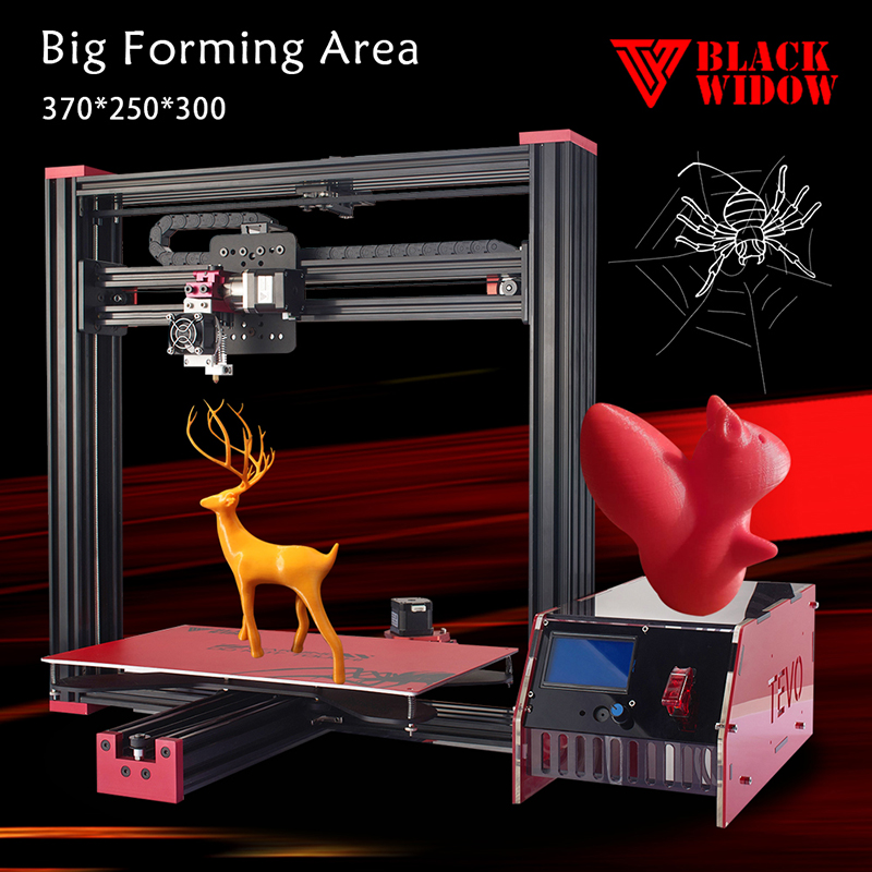 2016 Newest TEVO Black Widow Large Printing Area 370 250 300mm OpenBuild Aluminium Extrusion 3D Printer