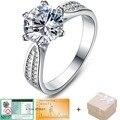 Новое поступление 3ct 925 серебряные ювелирные изделия классические обручальное кольцо 6 когти 9 мм ааа кристалл стрелки CZ бриллиантовое кольцо 108