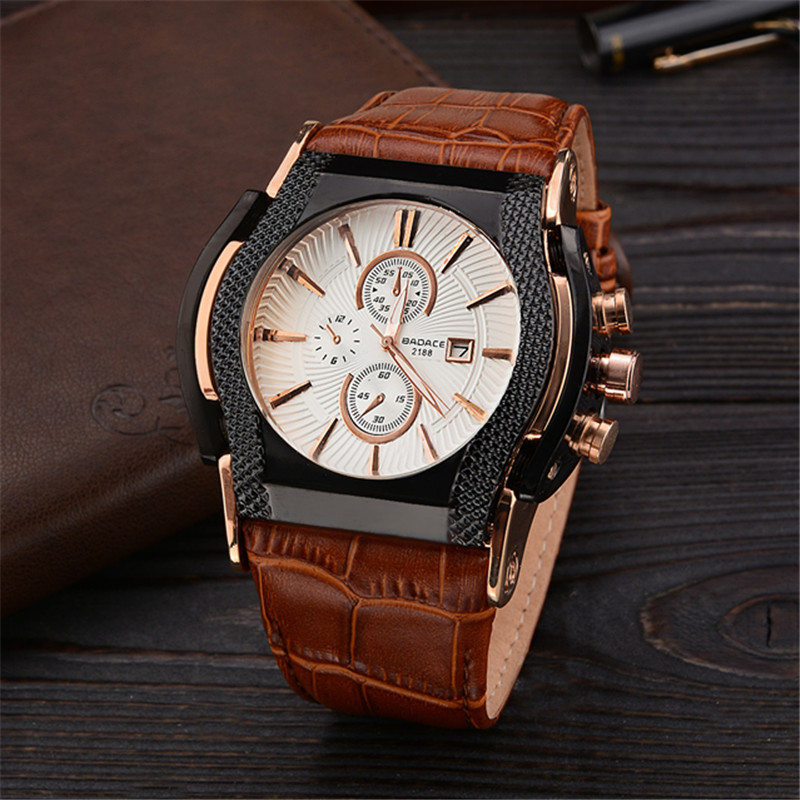 New Luxury Brand BADACE Quartz Watches Men montre Date Business Men Watch Leather Strap Sport WristWatch Relogio Masculino QW083 weide japan quartz watch men luxury brand leather strap stainless steel buckle waterproof new relogio masculino sport wristwatch
