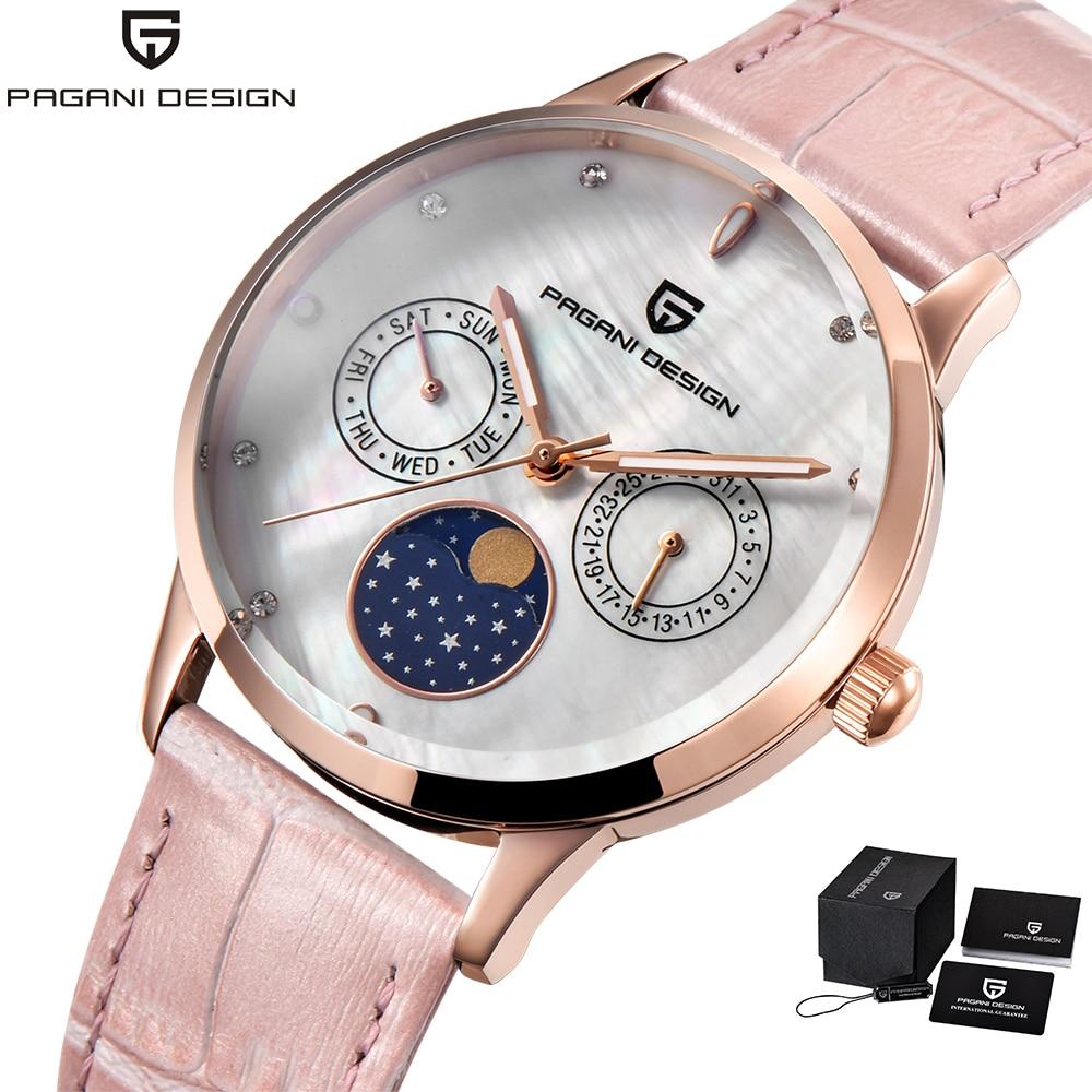 Pagani Design Brand Luxury Womens Watches Quartz Pink Leather Band Rose Gold Watch Women Wristwatch Clock relojes mujer 2018 цена и фото