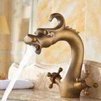 China Dragon Bathroom Basin Mixer Faucet Antique Bronze Brass Dual Handle Basin Faucet DONA4003a