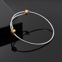 IJB0214 Top Popular Two Tone 316L Stainless Steel Adjustable Expandable Wire Bangles Bracelets For DIY Jewelry