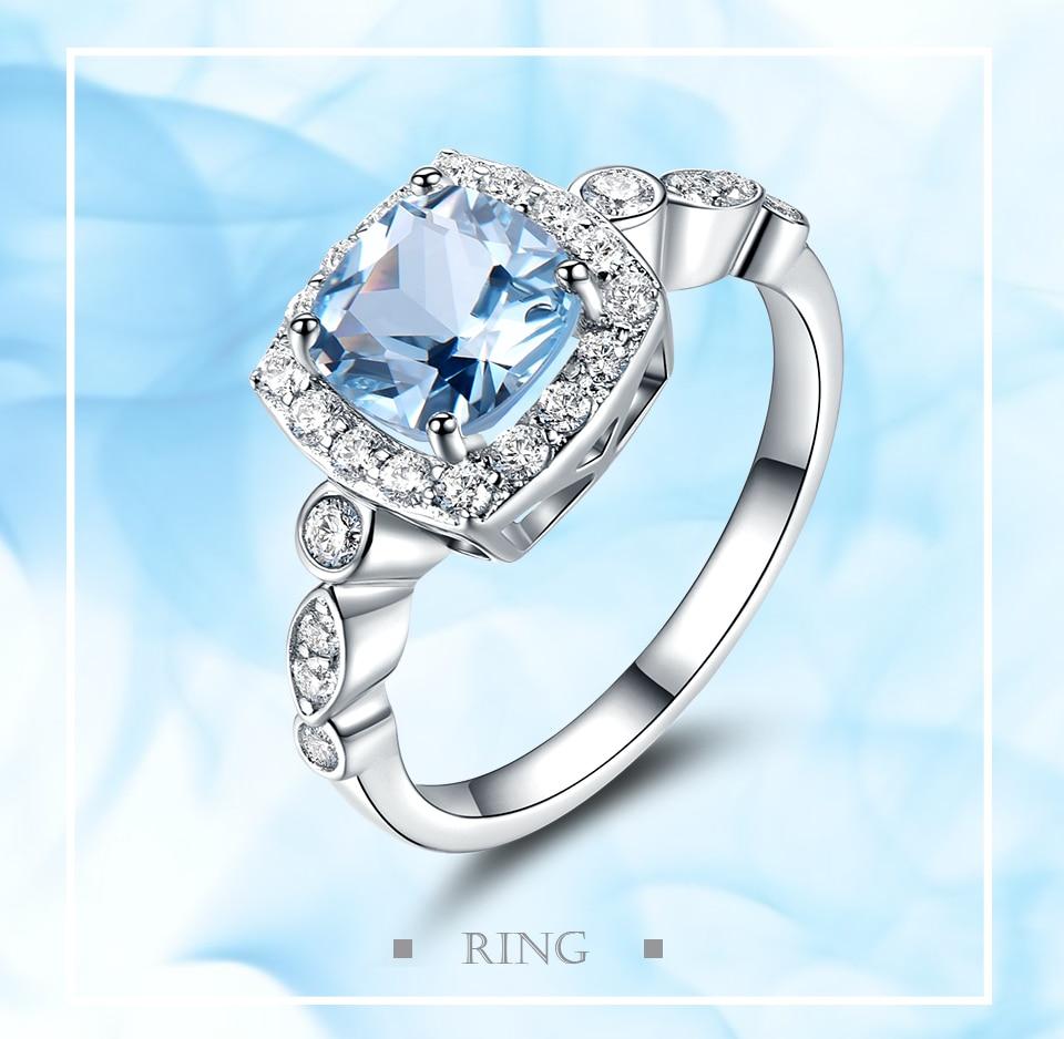 HTB1D2O1ewaH3KVjSZFjq6AFWpXab UMCHO Real S925 Sterling Silver Rings for Women Blue Topaz Ring Gemstone Aquamarine Cushion Romantic Gift Engagement Jewelry