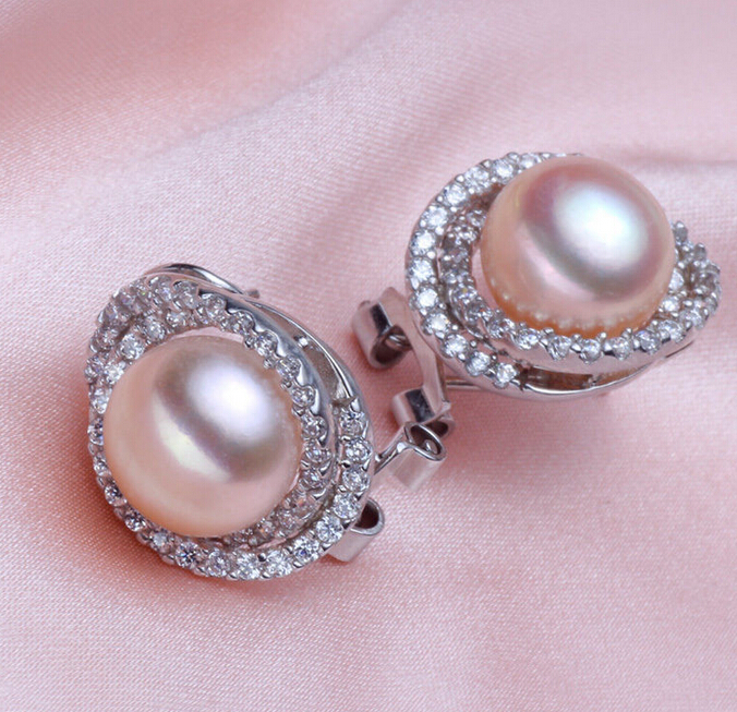 Hj 00274 conjunto 12 mm Tahitian naturel authentique rose ou blanc parfait perle