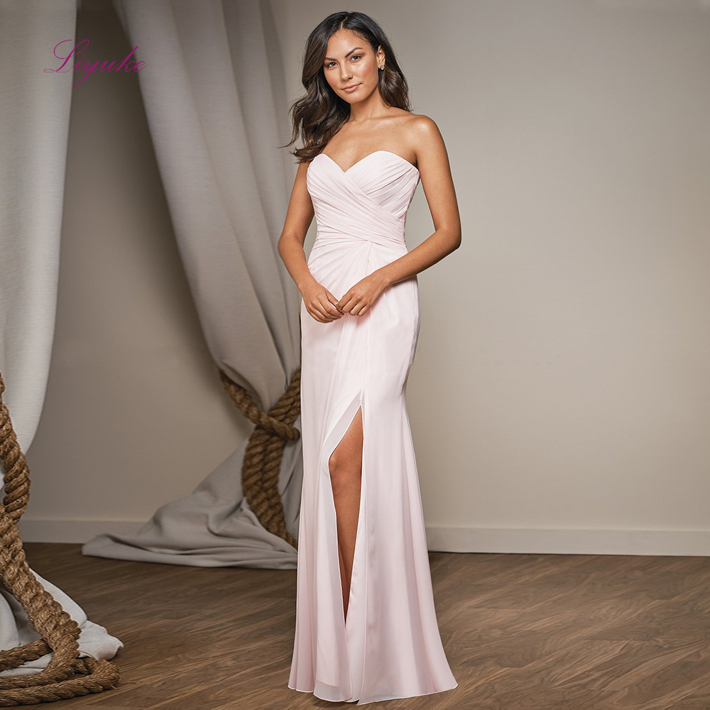 Liyuke Chiffon A line   Bridesmaid     Dresses   Split Long Formal   Dress   Simple Strapless Criss-cross Draped
