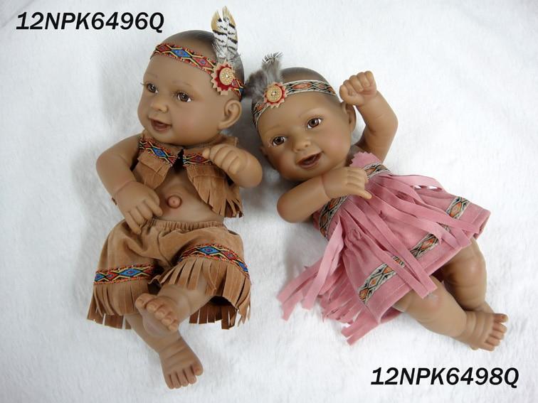 28CM Native American Indian Doll Boy Girl Reborn Dolls Kidu0027s Accompany Baby  Shower Toys Birthday Christmas Gift Black Skin Dolls