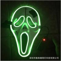 2017 Cool Halloween Style Skull Mask EL wire Masks glowing neon Festival LED Glowing Party DJ dance Carnival Ghost Masks toys