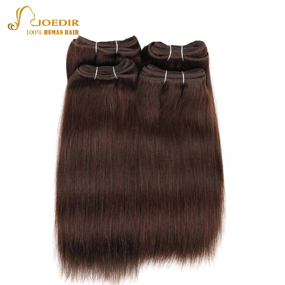 Joedir Pre-colored Brazilian Straight Hair 4 Pcs One Pack 190 Gram Brazilian Yaki Human Hair Bundles Weave Color 4# Non Remy