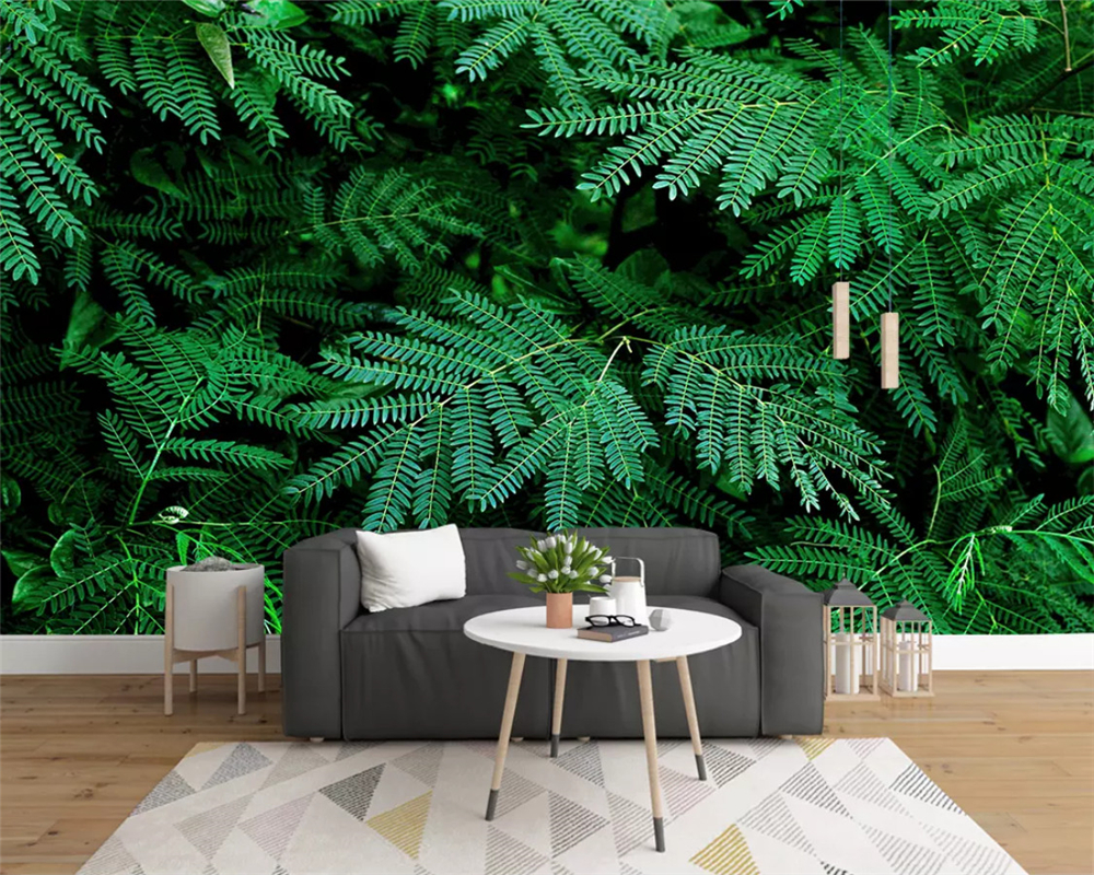 Beibehang Custom Children Room Wall 3d Wallpaper mural Natural green plant rainforest Background wallpaper for walls 3 d