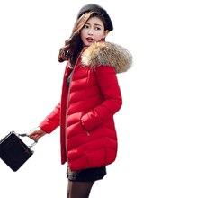 Winter Jacket Women 2016 New Down Jacket Fashion Slim long section raccoon fur jacket big yards thick warm padded jacket Parkas