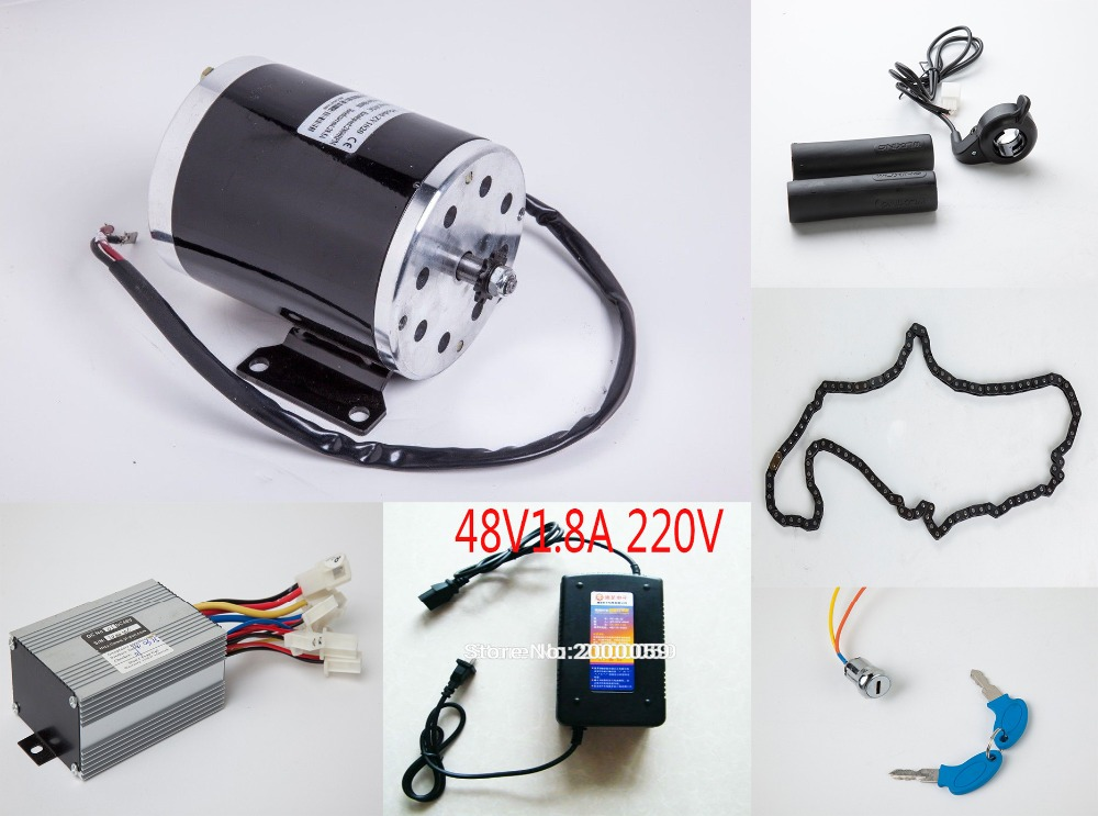48V1000W Electric Motor Set Motor Controller Charger Throttle Chain Key Lock Kit Electric Bike Scooter