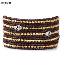 KELITCH Schmuck Neueste Top Gold Nuggets Perlen Armband Handarbeit Aus Echtem Leder Kette Schädel Frauen Männer Armbänder Großhandel