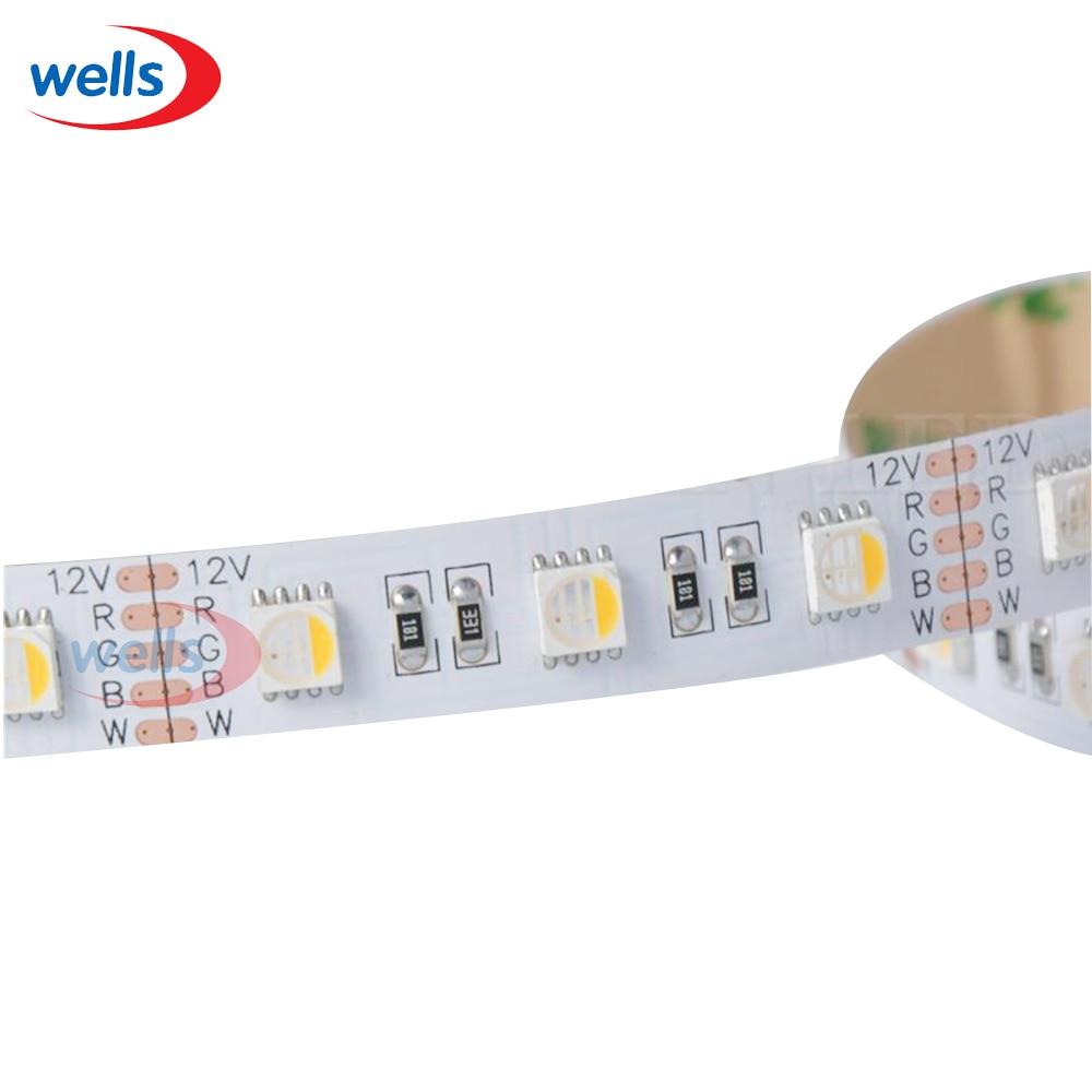 5m 5050 4-in-1 LED RGBW RGB+Warm Cool White LED Strip 60LEDS/M White PCB 12V