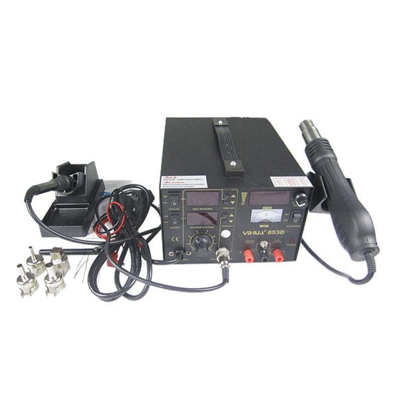 YH 853D soldering station, SMD solder station hot air gun soldering iron DC power supply 3 in 1 welding machine цена