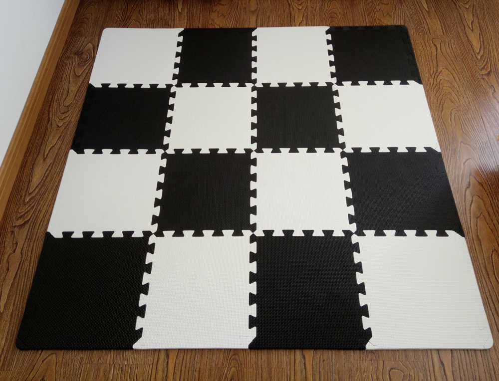 Matt Mats Baby Eva Foam Play Puzzle Mat 16pcs Lot Black And White Interlocking Exercise Tiles Floor Carpet Rug For Kids Pad
