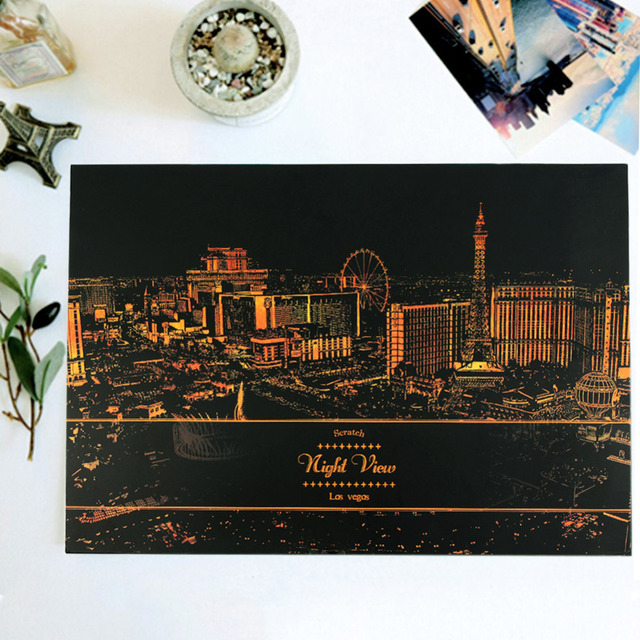 2016 New Hot Creative Paris London Las Vegas Florence Scratch Night View With Scratch Pen High Quality