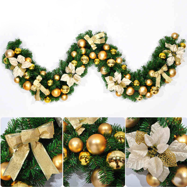 Us 25 71 2 7m Gold Red Luxury Bowknot Flower Balls Decorated Mantel Fireplace Christmas Garland Pine Tree Christmas Decorations For Home In Wreaths