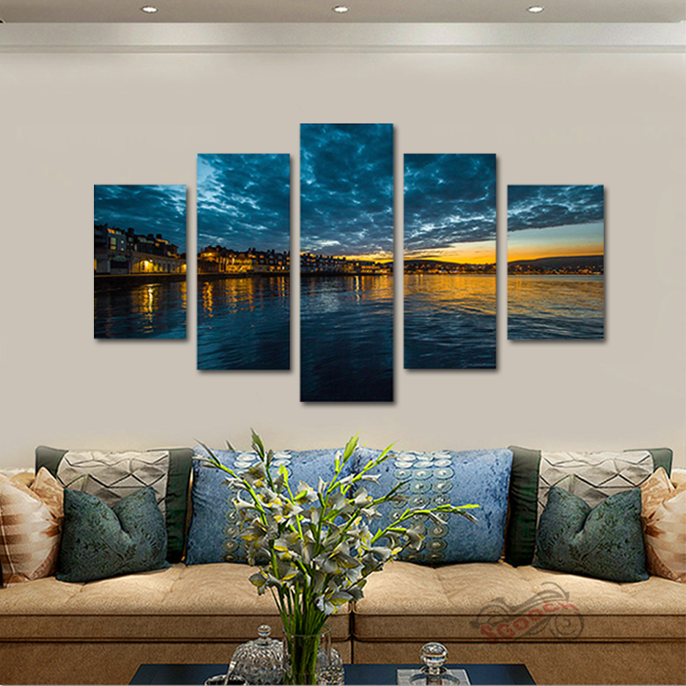 Unframed Canvas Painting Dusk Beachfront Night View Photo Picture Prints Wall Picture For Living Room Wall Art Decoration