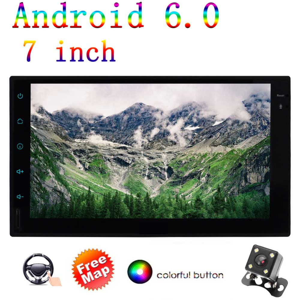Android 6.0 7 Inch Double 2 Din In Dash Car Radio with FM/AM RDS Radio Bluetooth Steering Wheel Control WIFI Fast Boot AUX OBD2
