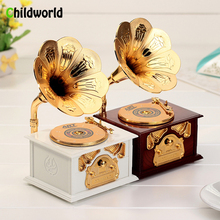 European Classical Music Box Model Home Decoration Accessories Creative Figurines Phonograph Jewelry Box