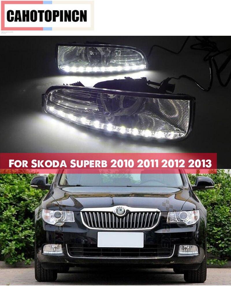2PCS Super Brightness Car DRL Lamp 12V Waterproof ABS LED Daytime Running Light For Skoda Superb