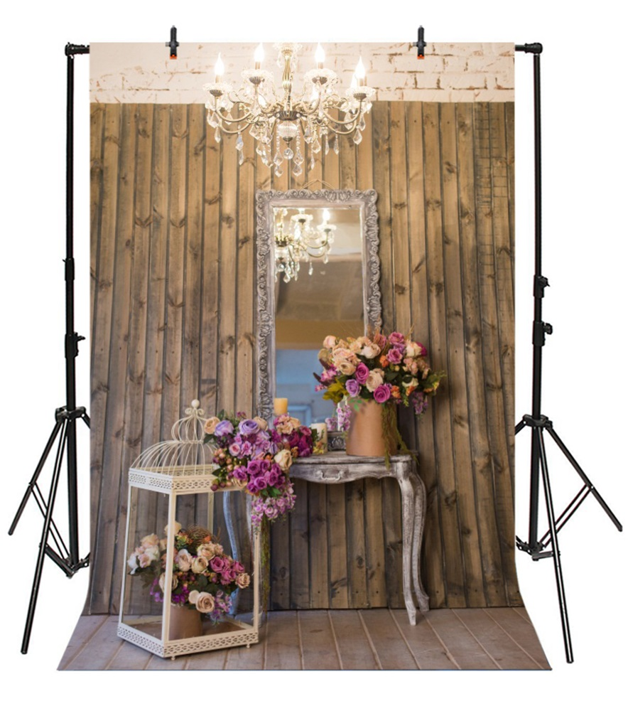 Laeacco Wooden Wall Floor Desk Flowers Photography Backgrounds Customized Photographic Backdrops For Photo Studio