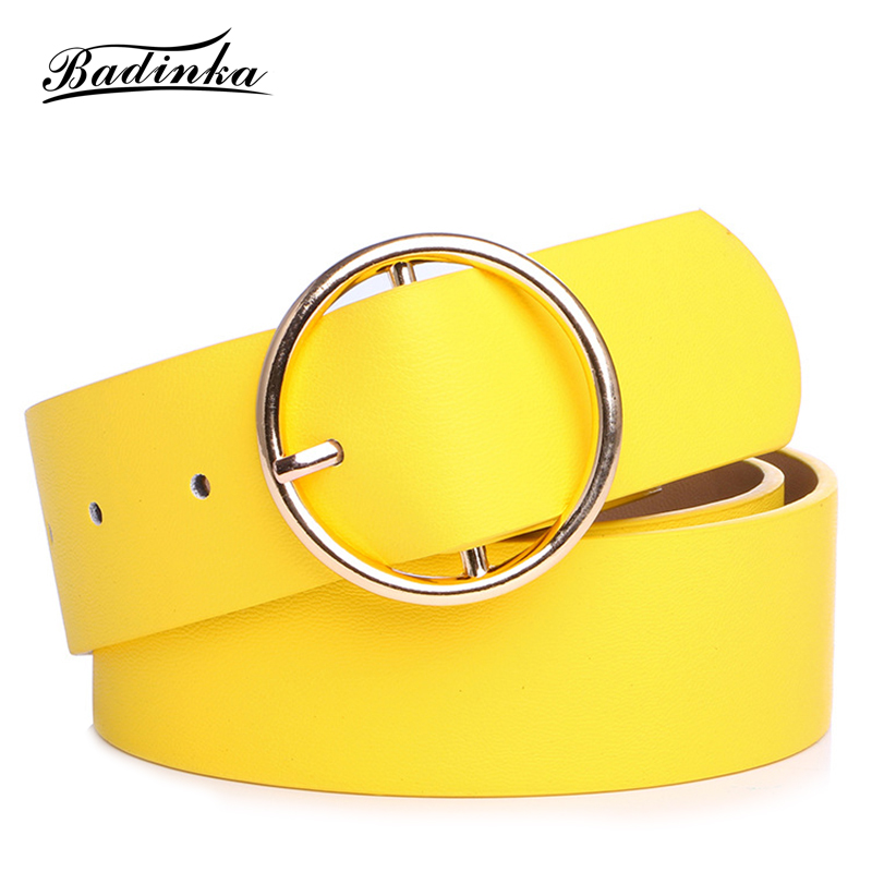 Badinka 2018 New Designer Round Metal Circle   Belt   Waistband Ladies Wide White Black Yellow Pu Faux Leather Waist   Belts   for Women