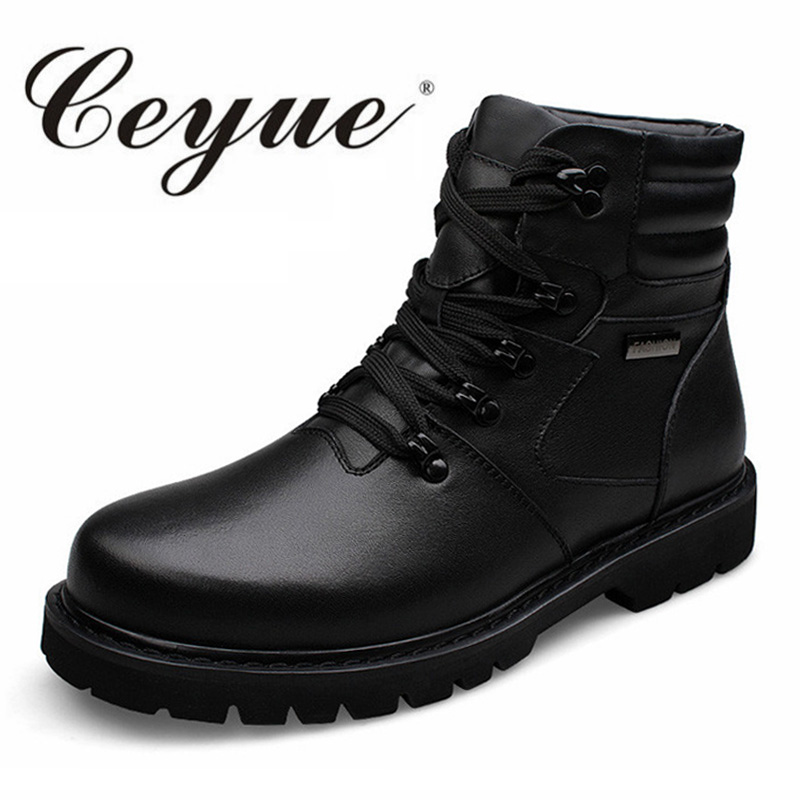 Ceyue New Quality Genuine Leather Big Size 37-48 Casual Boots Men Warm Fur Men Winter Boots Quality Lace Up Casual Shoes For Men iahead men boots genuine leather flats new casual shoes lace up warm winter boots men plus size 38 48 rain shoes men mh586