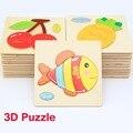 4 unids 28 niños animales de dibujos animados de rompecabezas 3D rompecabezas de madera del bebé Kids inteligencia educativos juguetes