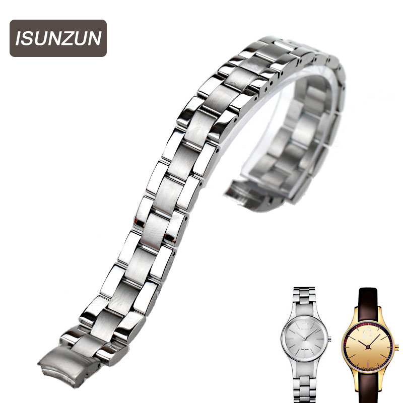 ISUNZUN High Quality Watch Band Women's Best Chrismas Gift Whachband For CK K4323100 Steel Strap Women 10MM Brand Watchband the best chrismas